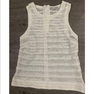 Search for Sanity White Sleeveless Mesh Tank Top
